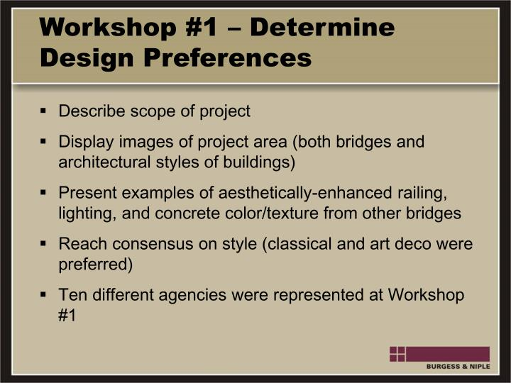 Workshop #1 – Determine Design Preferences