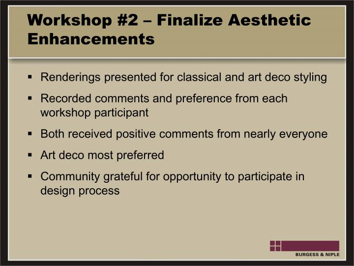 Workshop #2 – Finalize Aesthetic Enhancements