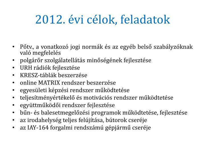 2012. évi célok, feladatok