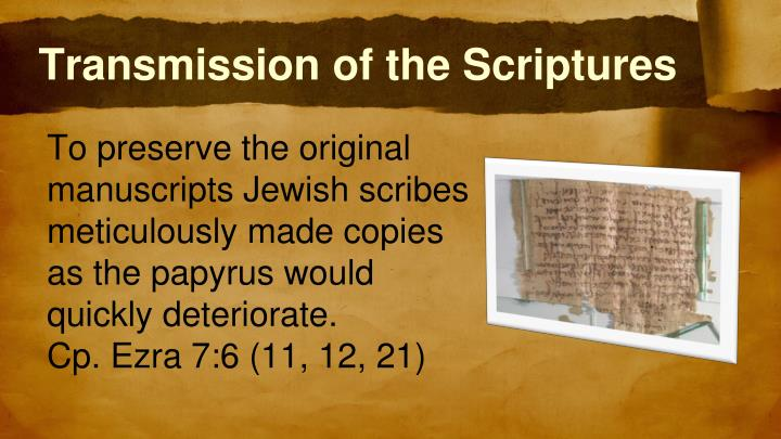 Transmission of the Scriptures