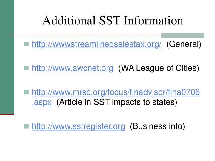 Additional SST Information