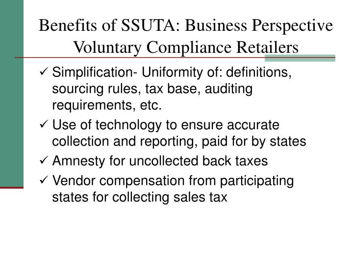 Benefits of SSUTA: Business Perspective