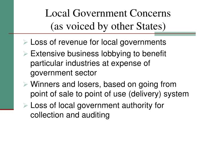 Local Government Concerns