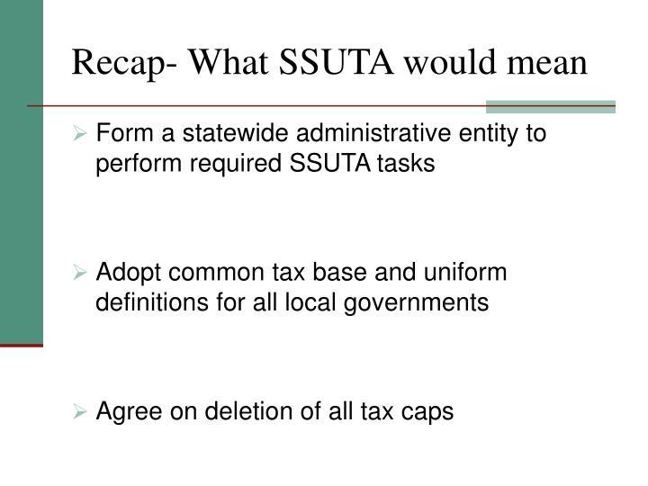 Recap- What SSUTA would mean