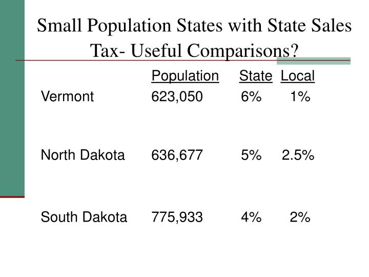 Small Population States with State Sales Tax- Useful Comparisons?
