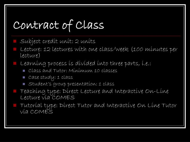 Contract of Class