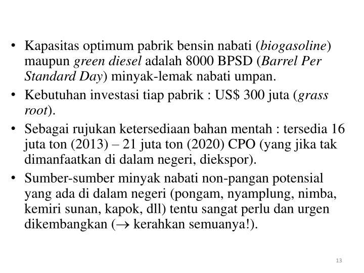 Kapasitas optimum pabrik bensin nabati (