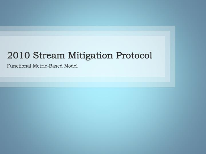 2010 Stream Mitigation Protocol