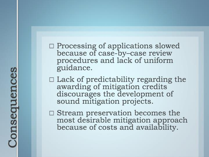 Processing of applications slowed because of case-by–case review procedures and lack of uniform guidance.