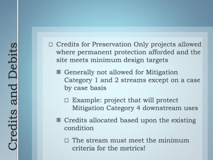 Credits for Preservation Only projects allowed where permanent protection afforded and the site meets minimum design targets