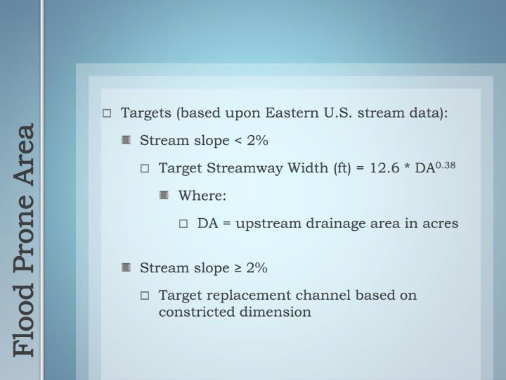 Targets (based upon Eastern U.S. stream data):