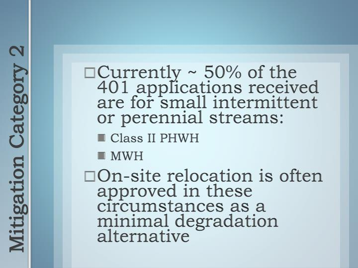 Currently ~ 50% of the 401 applications received are for small intermittent or perennial streams: