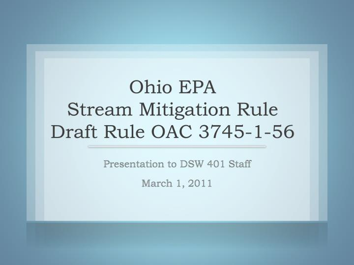 Ohio epa stream mitigation rule draft rule oac 3745 1 56