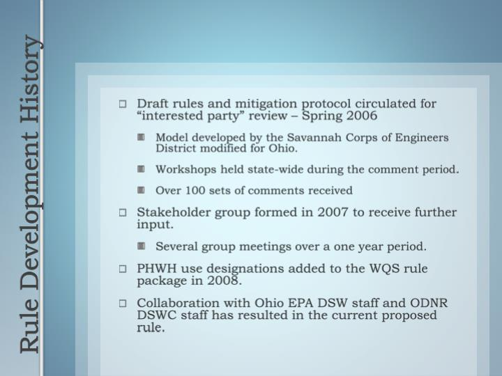 "Draft rules and mitigation protocol circulated for ""interested party"" review – Spring 2006"