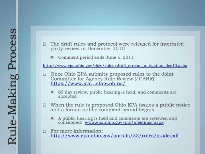 The draft rules and protocol were released for interested party review in December 2010