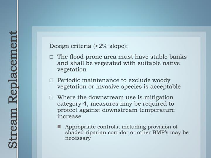Design criteria (<2% slope):