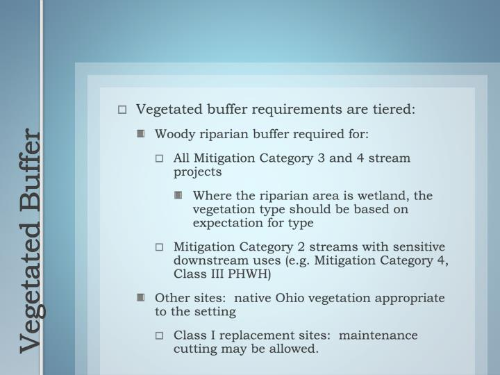 Vegetated buffer requirements are tiered: