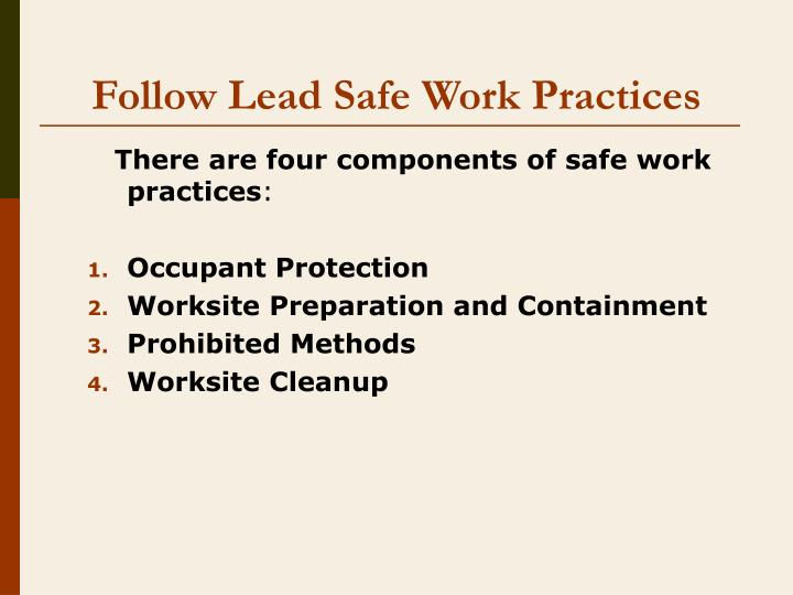 Follow lead safe work practices