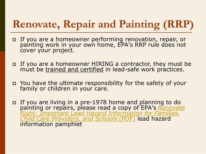 Renovate repair and painting rrp