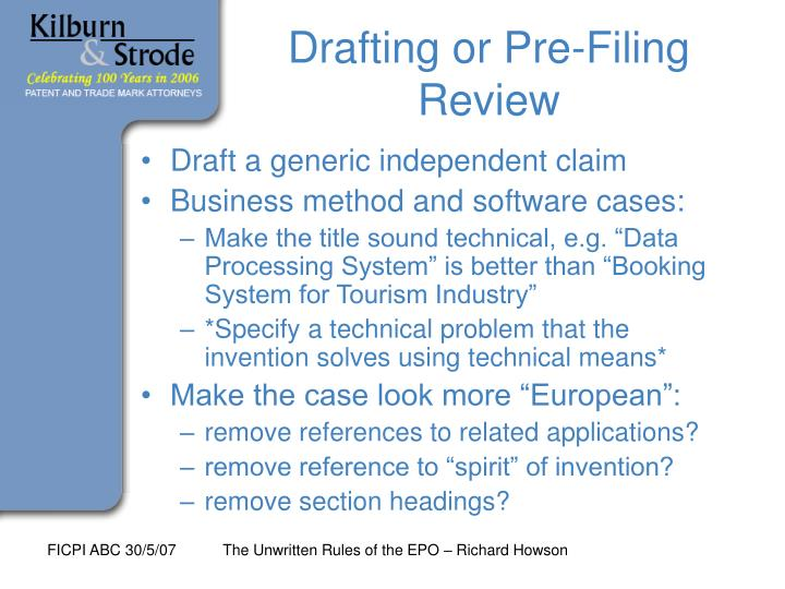 Drafting or Pre-Filing Review