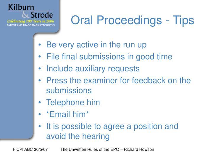 Oral Proceedings - Tips