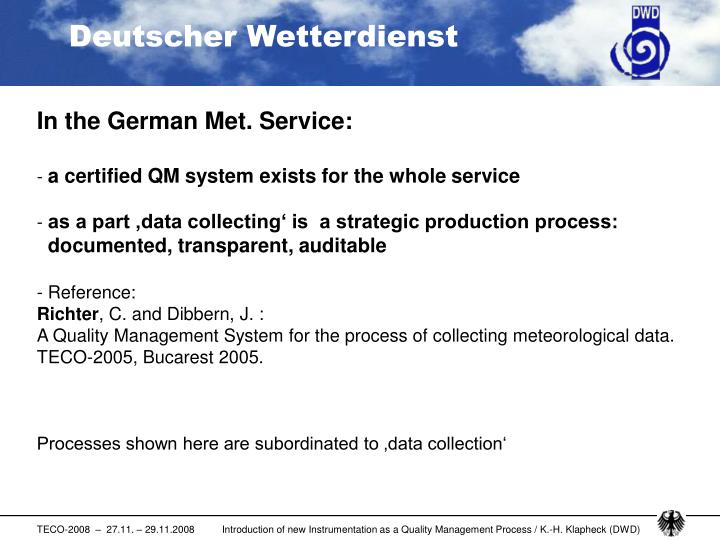 In the German Met. Service: