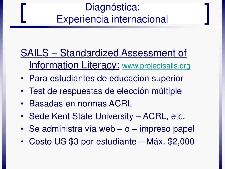 SAILS – Standardized Assessment of Information Literacy: