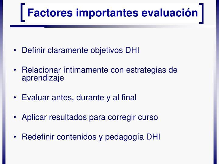 Definir claramente objetivos DHI