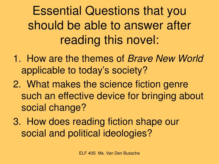 Brave new world essay questions and answers