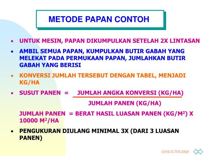 METODE PAPAN CONTOH
