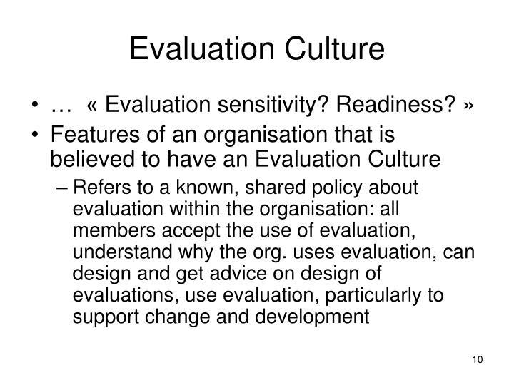 Evaluation Culture