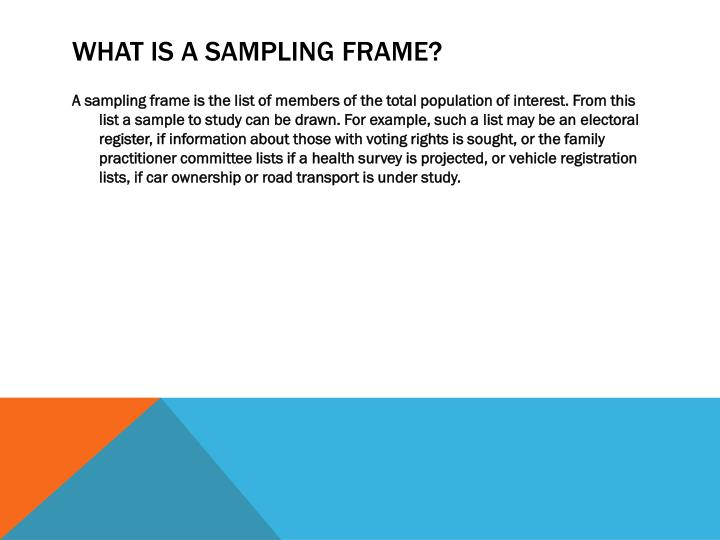What is a Sampling Frame?