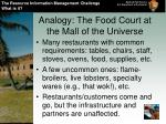 analogy the food court at the mall of the universe