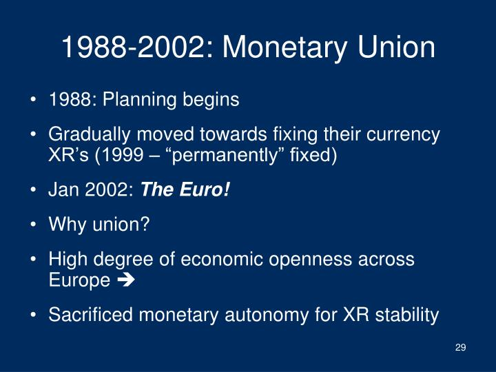 1988-2002: Monetary Union