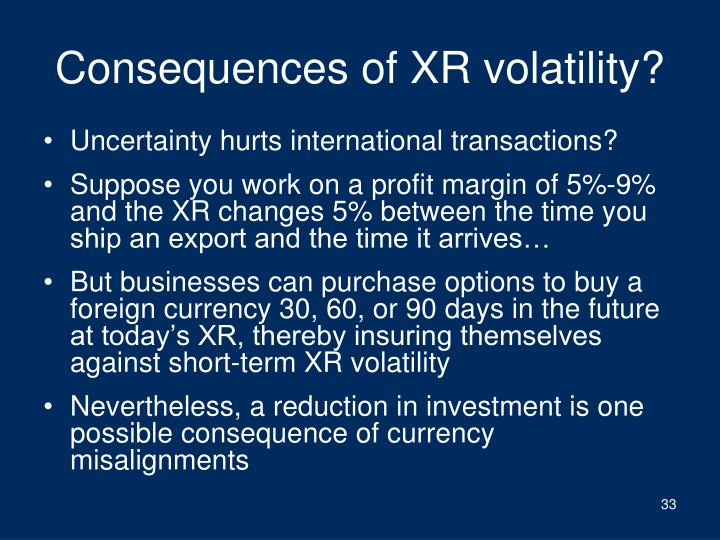 Consequences of XR volatility?