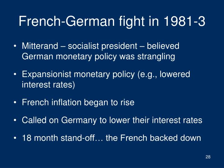 French-German fight in 1981-3