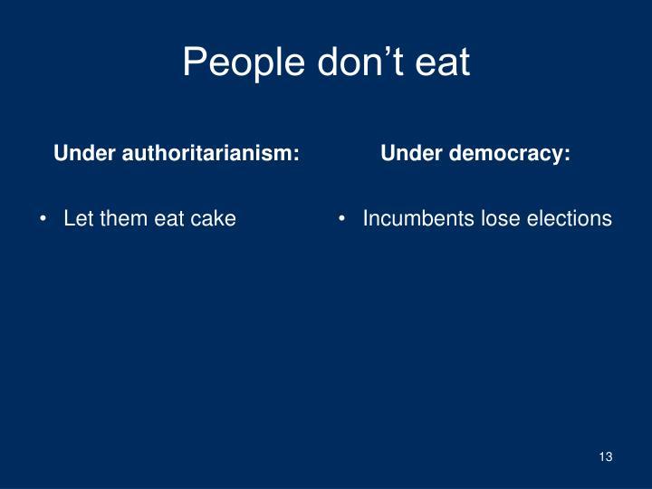 Under authoritarianism: