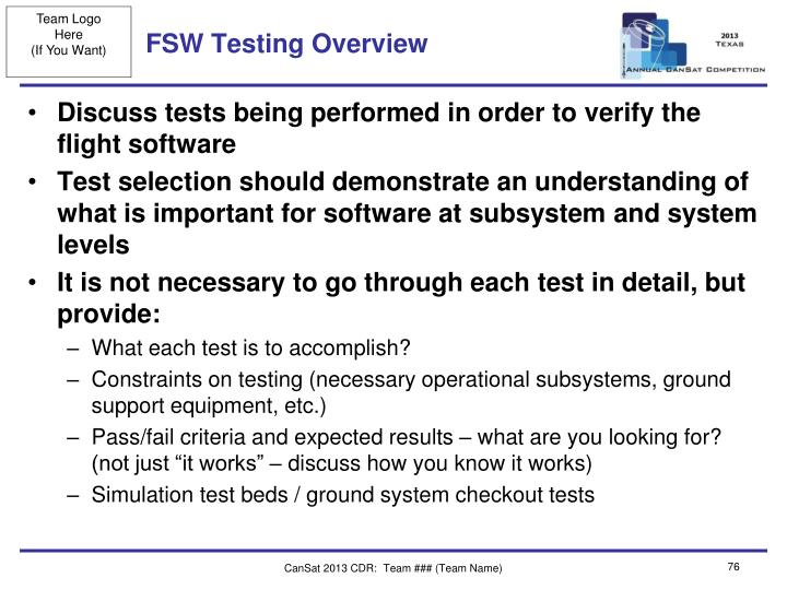 FSW Testing Overview