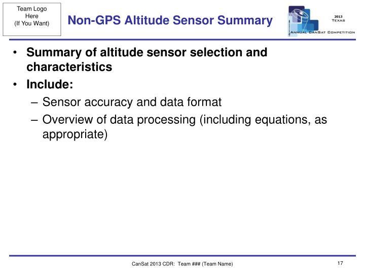 Non-GPS Altitude Sensor Summary