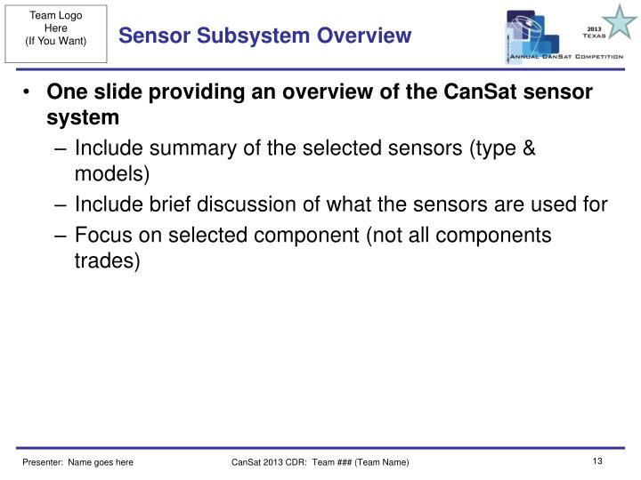 Sensor Subsystem Overview