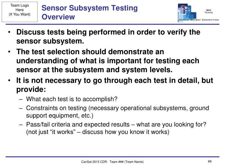 Sensor Subsystem Testing Overview