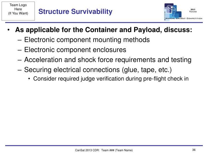 Structure Survivability
