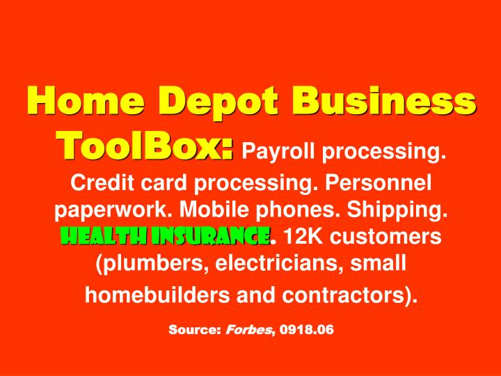 Home Depot Business ToolBox: