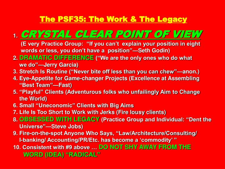 The PSF35: The Work & The Legacy