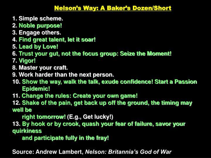 Nelson's Way: A Baker's Dozen/Short