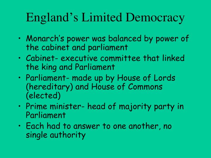 England's Limited Democracy