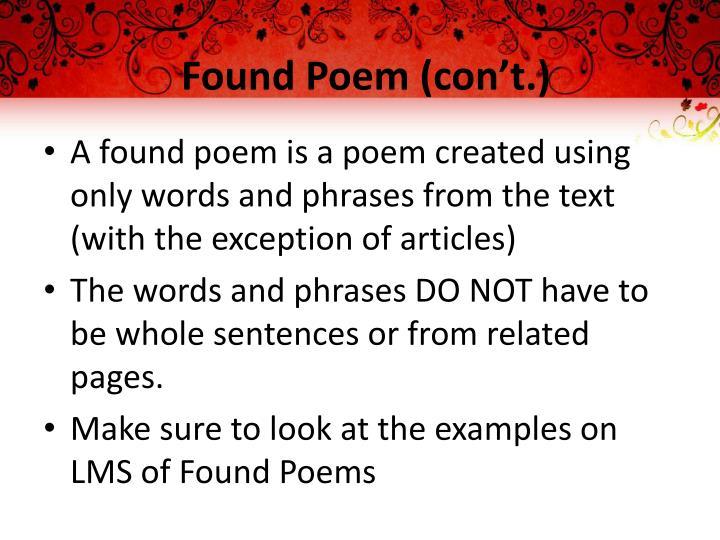 Found Poem (con't.)