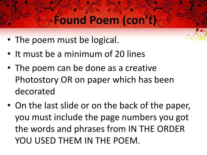 Found Poem (con't)