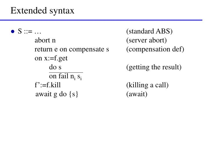 Extended syntax