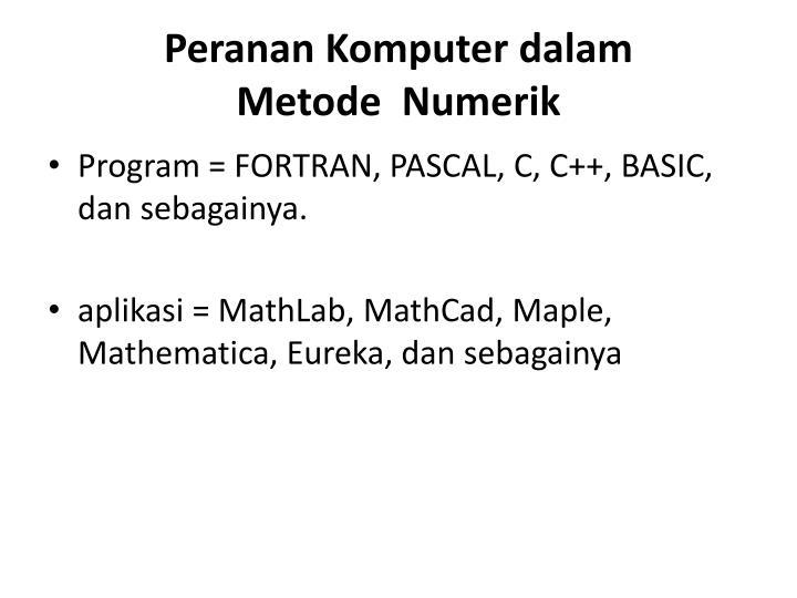 Peranan Komputer dalam Metode Numerik